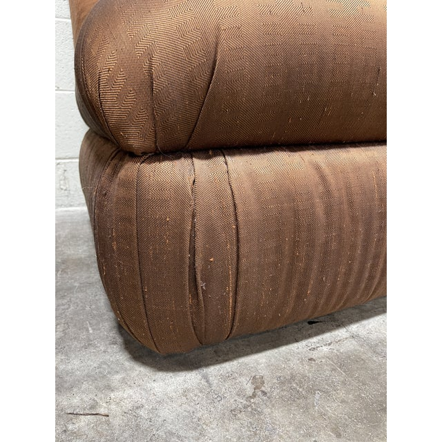 Copper Silk Shantung Rolled Back Slipper Chairs-A Pair For Sale - Image 10 of 12