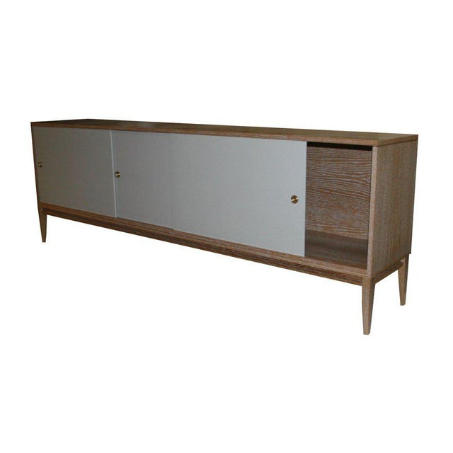 Gray Customizable Bishop Lacquered Linen Door Console For Sale - Image 8 of 9
