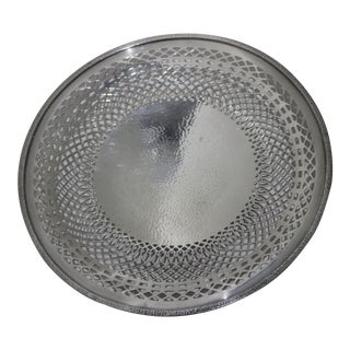 Silver Plated Serving Dish With Pierced Detail, 1920s For Sale