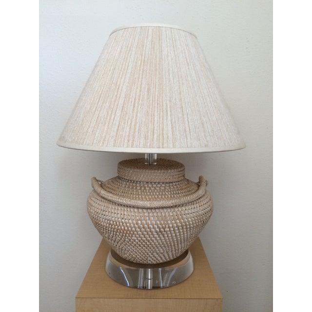Richard Lindley Rattan Basket Lamp - Image 4 of 9