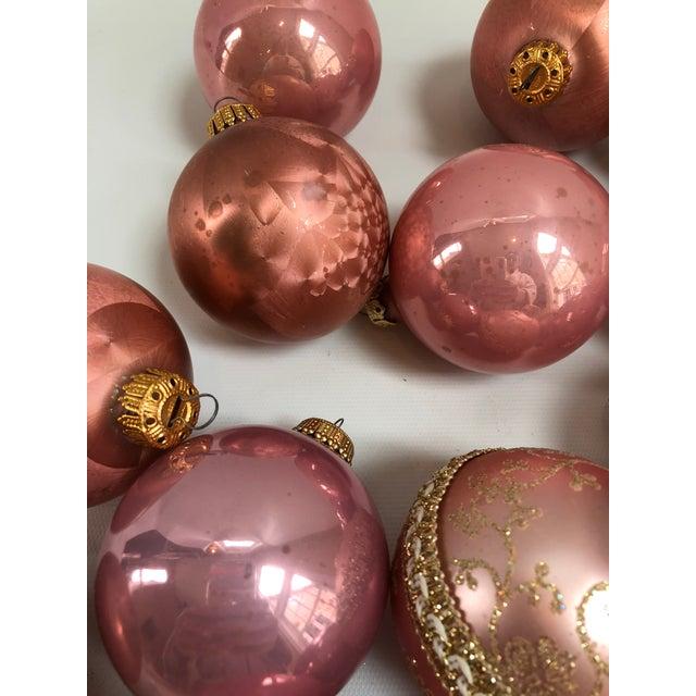 vintage blush pink glass christmas ornaments set of 17 for sale image 4 of - Glass Christmas Ornaments
