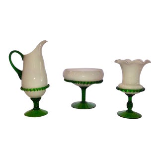 Milk & Emerald Green Glass Footed Floral Vases or Servers - Set of 3 For Sale