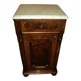 Antique Victorian Walnut and Marble Top Nightstand For Sale