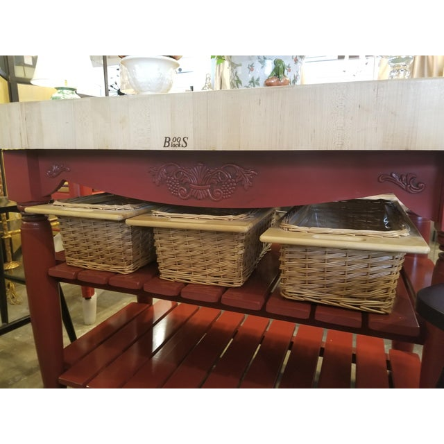 John Boos Red Maple Butcher Block Island With 3 Baskets For Sale - Image 9 of 11