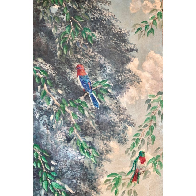 Italian Birds in the Forest Watercolor Painted Panels - Set of 2 For Sale - Image 9 of 13