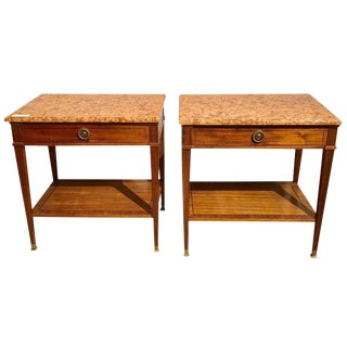 Pair of Marble-Top Single Drawer Nightstands or End Tables For Sale