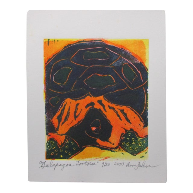 Vintage Lithograph Galapagos Tortoises Signed by Ann Zahn For Sale