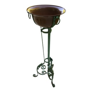 1940s VIntage French Planter With Copper Pot For Sale