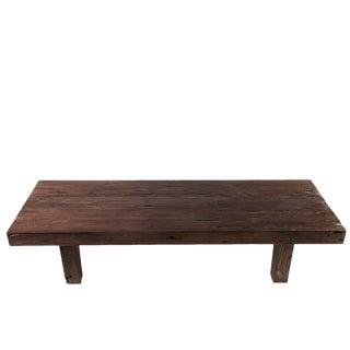 Rustic Brown Teak Coffee Table For Sale