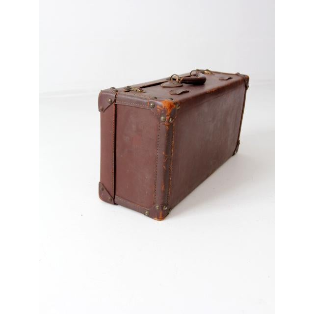 1930s Vintage Brown Leather Suitcase For Sale - Image 5 of 8