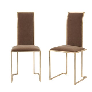 Vintage Mid-Century Italian Brass Side Chairs- A Pair For Sale