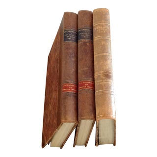 Antique Leather Bound Books - Set of 3 Large For Sale