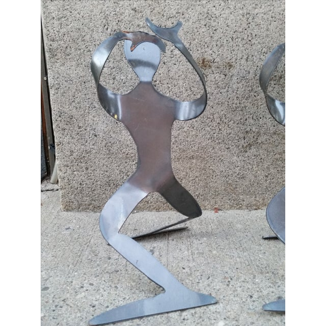 Brutalist Forged Metal Bottle Holders - A Pair - Image 3 of 8