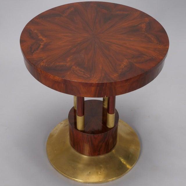 Brass Round Jugendstil Rosewood and Brass Pedestal Table For Sale - Image 7 of 7