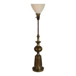Mid-Century Brass Floor Lamp With Globe For Sale