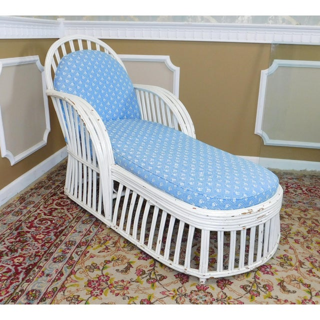 Antique Heywood Wakefield Art-Deco White Chaise Lounge - Image 2 of 7