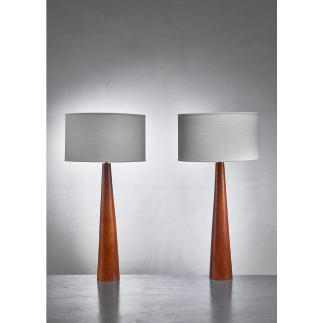 Pair of Conical Wooden Table Lamps, Sweden, 1960s For Sale - Image 4 of 4
