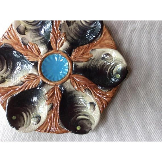 Antique French Majolica Oyster Plate - Image 3 of 8