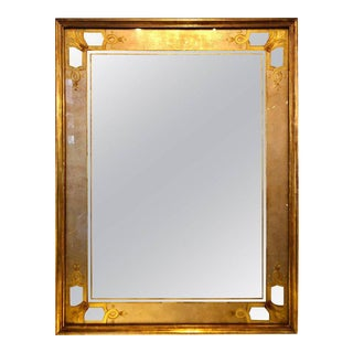 Hollywood Regency Jansen Églomisé Wall or Console Mirror Stamped on Reverse