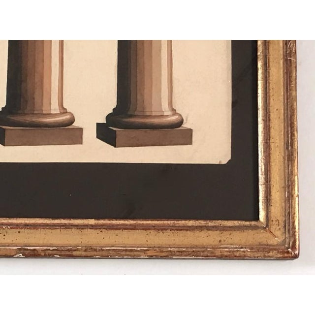 Neoclassical Architectural Watercolor Study of Shadows on Columns For Sale In Boston - Image 6 of 8