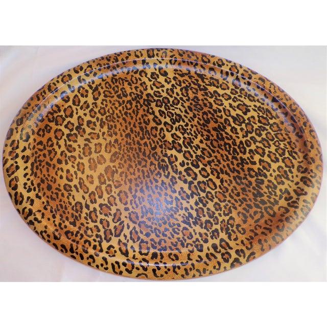 Sarreid Ltd. (Final Markdown Taken) Vintage 1980's Leopard Design Regency Tray For Sale - Image 4 of 9