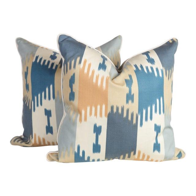 Brunschwig & Fils Ikat Pillows - a Pair For Sale