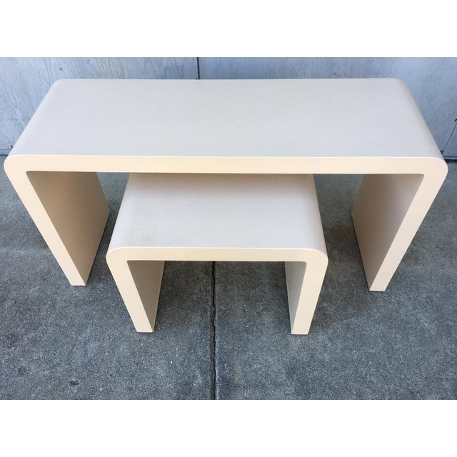 Modernist Waterfall Lacquered Linen Console and Side Table For Sale - Image 11 of 12