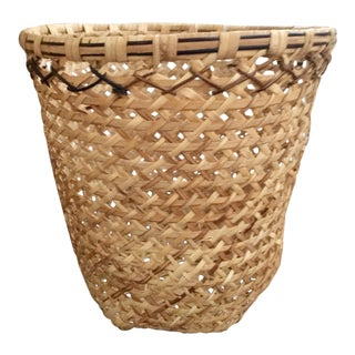 Hand Woven Rattan Waste Basket For Sale