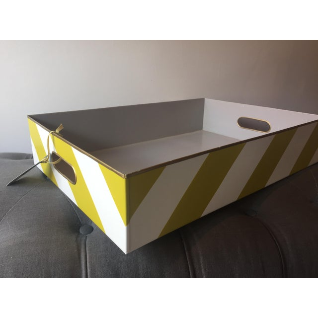 chelsea tray by stray dog designs. color: chartreuse, white, dove gray diagonal stripes in punchy color ways and a bright...