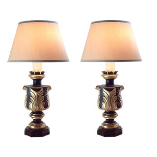 Pair of Charles Pollock Black & Gold Acanthus Leaf Italian Table Lamps - Large For Sale