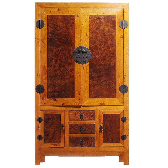 20th Century Chinese Two-Tone Burl Wood, Elmwood Armoire with Doors and Drawers For Sale In New York - Image 6 of 6
