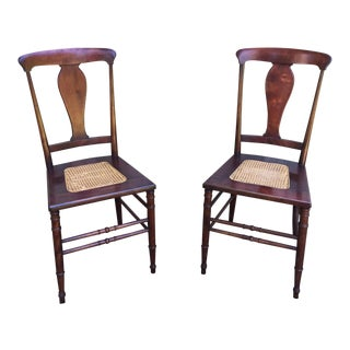19th Century Early American Ladies Parlor Chairs - a Pair