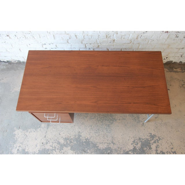 Jens Risom Mid-Century Modern Executive Desk in Walnut, Cane, and Steel For Sale - Image 12 of 13