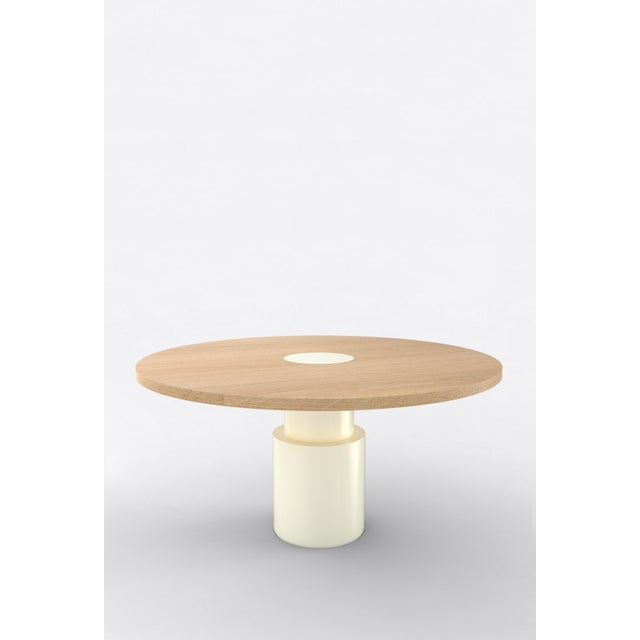 "Orphan work 100 Dining Table, 2019 Shown in oak with white. Available in natural oak with painted base. Measures: 60""..."