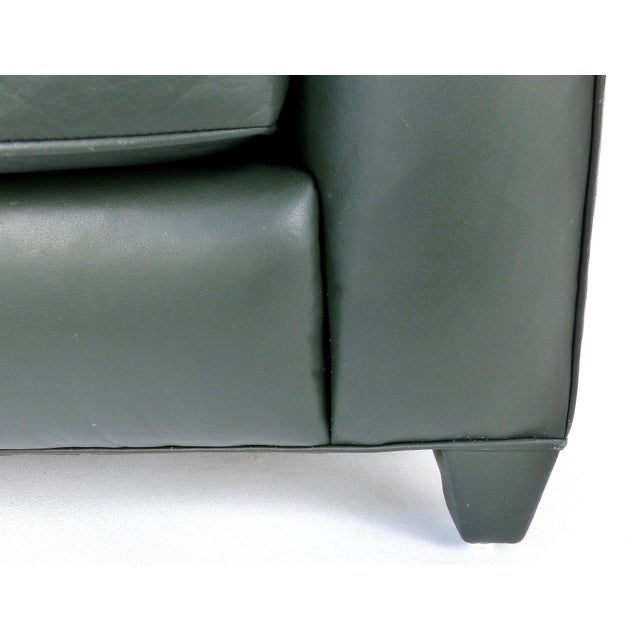 Wood Donghia Leather Club Chairs From the Main Street Collection in Forest Green For Sale - Image 7 of 9