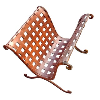 Contemporary Rustic Woven Iron Mesh Magazine and Log Holder For Sale