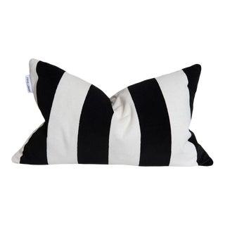 Black, White Stripe Velvet Pillow - 16 X 24 For Sale