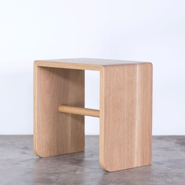 Wood Shortcut Low Stool in White Oak For Sale - Image 7 of 7