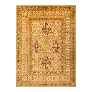 """Mogul, One-Of-A-Kind Hand-Knotted Area Rug - Gold, 10' 4"""" X 13' 10"""" For Sale"""