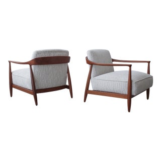Pair of Sculptural Danish Modern Lounge Chairs by Ib Kofod Larsen For Sale