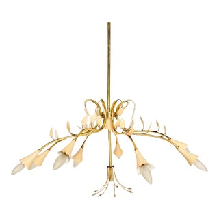 Brass Leaves Italian Chandelier