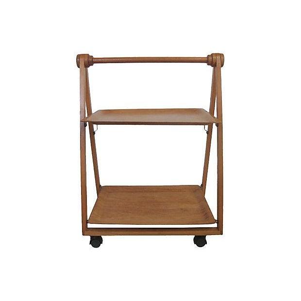 Danish Mid-Century Modern Folding Teak Bar Cart - Image 7 of 7
