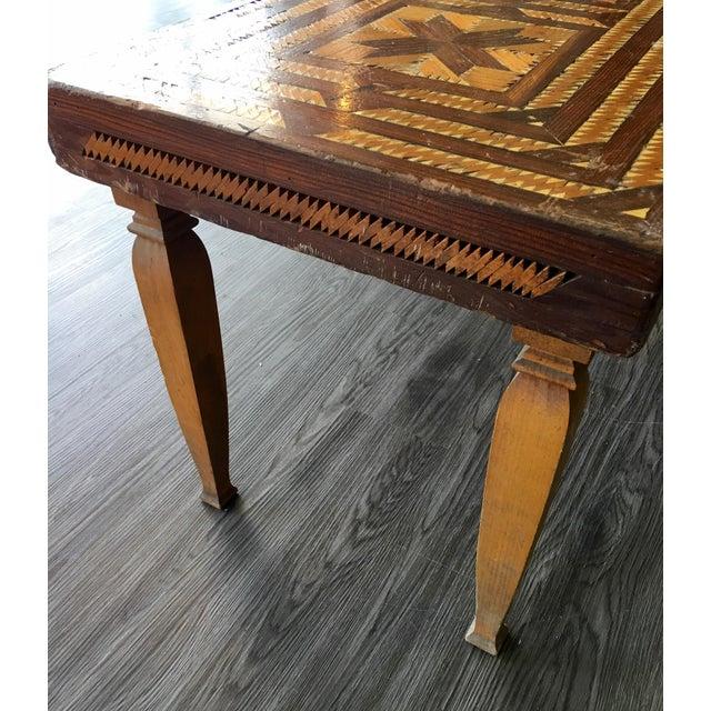 Vintage Folk Art Wood Inlay Bench - Image 5 of 8