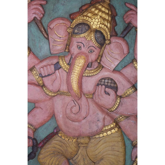 indian carved wood wall panels it is the accomplished form of Lord Ganesha, where He is in a relaxed form as he masters...