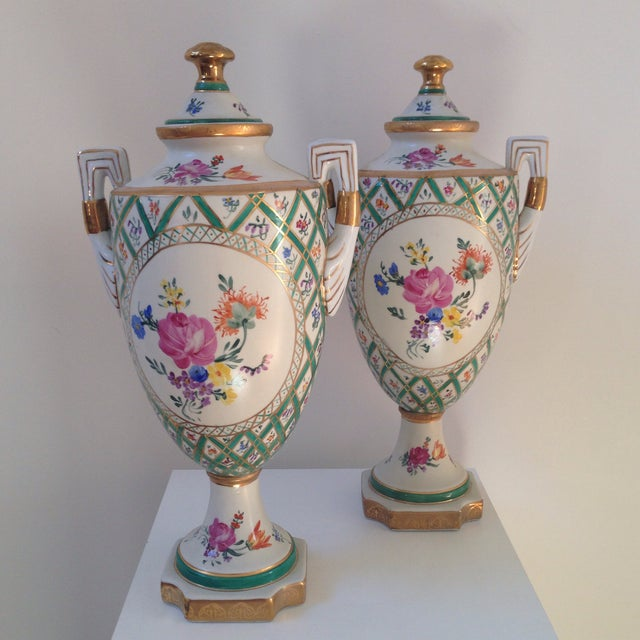 Traditional Floral Porcelain Urns - A Pair For Sale - Image 3 of 11