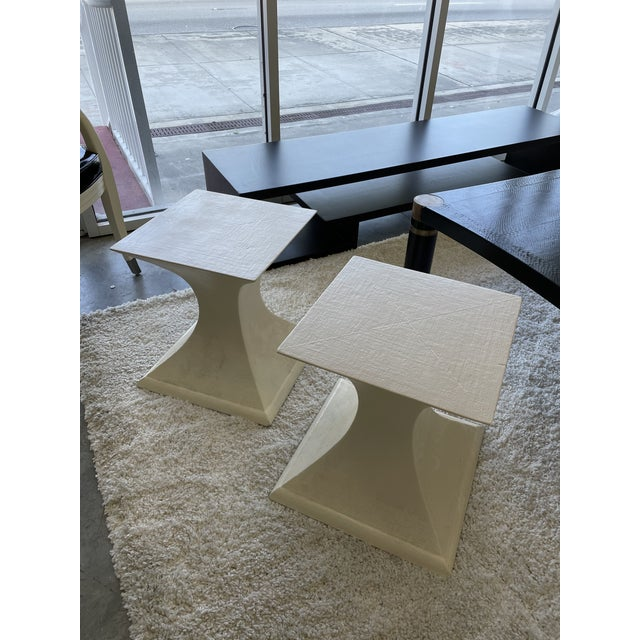 Stylish pair of 1970s linen wrapped side tables in great vintage condition. Thanks to their clean look these side tables...