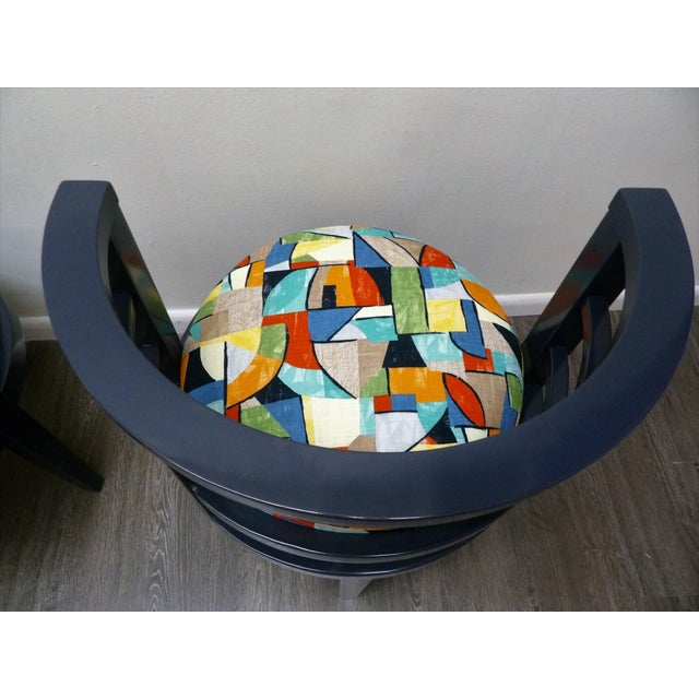 Modern Barrel Style Modern Chairs - a Pair For Sale In West Palm - Image 6 of 7
