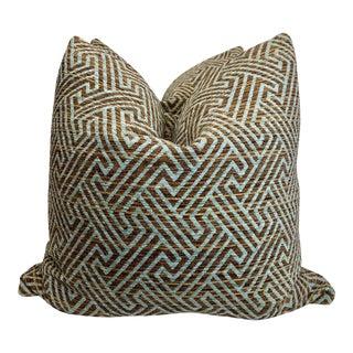 "Geometric Chenille in Bronze/Aqua 22"" Pillows - a Pair For Sale"