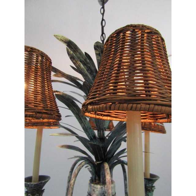 Six Lamp Verdi-Gris Pineapple Chandelier For Sale In West Palm - Image 6 of 7