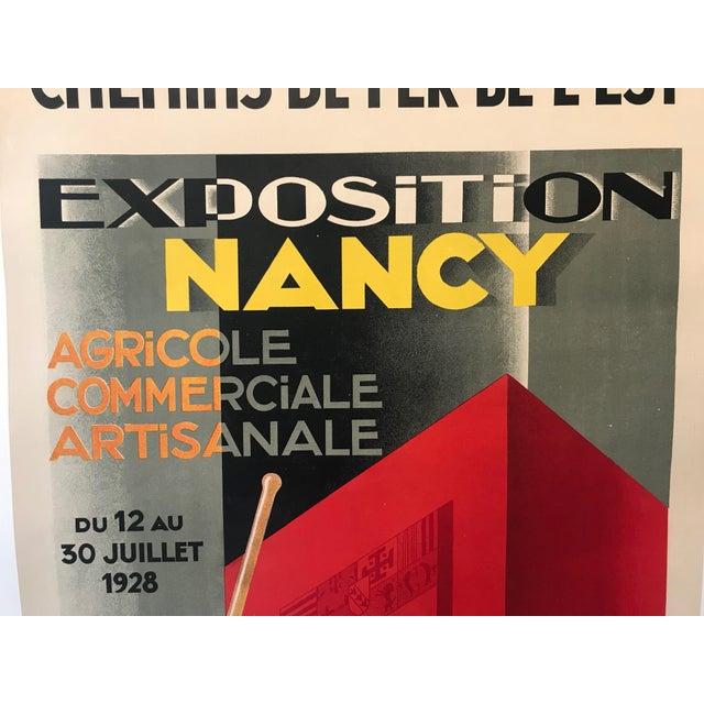 Red 1928 Original French Art Deco Poster, Paul Colin, Exposition De Nancy (Large) For Sale - Image 8 of 9